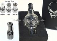 Replaceable Glass  Skull Glass Tank Wax Dry Herb Vaporizer Globe Tank Atomizer Clearomizer Cartomizer for E Cig Electronic Cigarette Kits Clear Color Instock