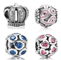 Wholesale 2014 HOT silver DIY charm Beads Fits European pandora style Bracelets Snake Chain mixed