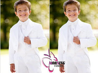 Reference Images Tuxedos Polyester free shipping High quality Hot sale Cheap White kids suits Custom-made boy wedding suit Boy's Attire Groom Tuxedos (Jacket+Pants+Tie+Vest)