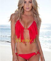 Women Bikinis Pure Colour 2014 Women Sexy Fashion Bikini Bathing Beach Swim Wear Swimsuit Halter Tassel Fringe TOP Padded >>dsgffrt88
