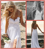 Wholesale 2014 Sexy Beach Wedding Dresses Spaghetti Straps Appliques Low Back Lace Wedding Dress Summer Bohemian Wedding Gowns Front Short Back Long