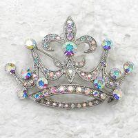 Men's aurora borealis brooch - Aurora Borealis Crystal Rhinestone Crown Brooches Wedding Party prom Pin Brooch fashion Brooches jewelry C932 F