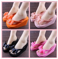 Wholesale Slippers summer new bow high heeled flip flops beach sandals Korean slippers