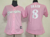 Wholesale Milwaukee quot Brewers quot Pink Women s Baseball Jerseys Authentic Softball Uniform Wear Brand Embroidery Cheap Sports Jerseys Mother s Day Gift