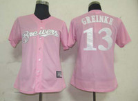 Wholesale Milwaukee quot Brewers quot Zack Greinke Pink Women s Baseball Jerseys Authentic Cool Base Jerseys High Quality Softball Wear Mother s Day Gift