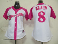 Wholesale Milwaukee quot Brewers quot Ryan Braun Womens Pink Splash Fashion Jersey Authentic Baseball Jerseys Cheap Stitched Cool Base Jersey Softball Wear