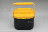 Yellow Two-Layer No Worms Maggots Live Bait Box Holder Container Fishing Tackle Case Free Shipping