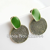Stud Women's Stud Earrings 2014 New Fashion Elegant High Quality Classic Vintage Large Green Enamel Alloy Stud Earrings Jewelry Free Shipping Wholesale