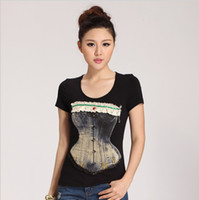 Women Polo Tops [Amy] free shipping 2014 High quality Lace bowknot corset large size Black elastic women t shirt size s M L XL XXL XXXL