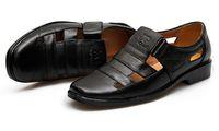 Men Flat Heel PU new style British gentleman suit men's shoes hollow out shoes summer hollow out cool shoes breathable sandals Leisure men sandals LX14