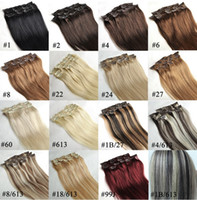 Wholesale pieces as a set inch human hair Clip in hair all inchs