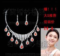 Wholesale For nec klace ruby rhinestone necklace earrings piece set