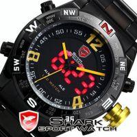 Sport Men's Round Genuine SHARK Men's Black Stainless Steel Metal Band Digital LED Date Alarm Male Yellow Sport Analog Quartz Wrist Watch SH099