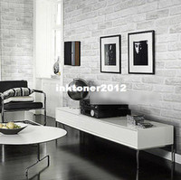 Wholesale Deep Embossed D Brick Wallpaper Brick Pattern Paper Wallpaper Roll For Wall Stone Light Grey White WP072