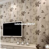 Wholesale Non woven Flocking Wallpaper Roll D Waterproof Rustic Modern Europe Leaf Background Decor Wall Wall Paper Coffe papel de parede