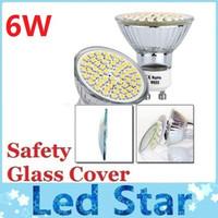 6W Safety Glass Cover GU10 ampoules LED 60 Leds SMD 3528 Cool White / Warm White E27 MR16 projecteurs à LED Lampe 110V 220V 12V CE ROHS