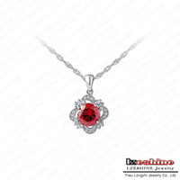 Pendant Necklaces Women's Fashion Round Red Zirocn Trendy Necklace For Women New Flower Pendant Necklace Swiss Cubic Zirconia Diamond Boutique Necklace JS-NL0028