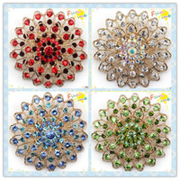 Korea rhinestone brooch - Flowers Diamond Brooches Gold Plated Jewelry Sets Pins Colors Alloy Round Crystal Brooches Wedding Dress Corsage Men s Rhinestone Brooch