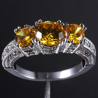 Wholesale Popular Women s Yellow Topaz KT White Gold Filled Three stone Ring Size
