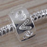 Wholesale 50PCS Silver Plated LOVE Stopper clip Locks Stopper Spacer Beads loose beads Fit European Jewelry Findings