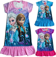 Wholesale In Stock Girls Frozen Dress Newest Girls Princess Elsa Anna Clothing Short Sleeve dresses casual colors pc Melee