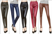 Leggings Skinny,Slim Women Spring models were thin waist matte faux leather leggings fashion outer wear tight leather pants pantyhose wholesale manufacturers