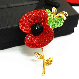 Wholesale 100 Top Quality Gold Tone Bright Red Crystals British Fashion Poppy Brooches For UK Remebrance Day Gift Royal British Legion Flower Poppy