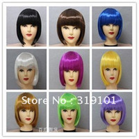 Wholesale new arrival Carnival Christmas Halloween party wigs synthetic hair ladies wigs cheap bobo wigs colors