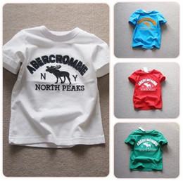 Wholesale 2014 NEW kids t shirt boys children t shirts deer boy cool short sleeve tops B14559