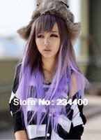 Wholesale cm long women purple gradient wig japanese harajuku anime cosplay wigs