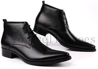 Wholesale new mens fashion dress shoes boots brand black ankle casual Pointed Toe boots man genuine leather shoes