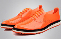 Lace-Up Men Spring and Fall 2014 british Orange flats men shoes fashion pointed toe High-quality patent genuine leather casual business dress shoes party