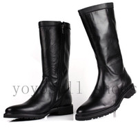 Wholesale new fashion black cool brand winter mens thigh knee high gladiator heels boots round toe genuine leather snow boots men