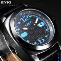 Sport Men's Water Resistant Trendy EYKI Overfly Date Display Japan Movement Genuine Leather Strap Blue Pointer Clock Quartz Wrist Men's Sport Watch EKI105