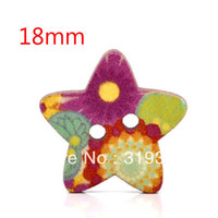 Quilt Accessories Buttons Beads 100 Pcs Star Shape 2 Holes Wood Sewing Buttons 18x17mm W01429 Knopf Bouton(W01429 X 1)