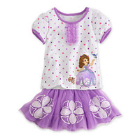 Wholesale New Summer Baby Girls Lilac Sofia Princess Carton Tops Cute Flower TUTU skirts Suits girls clothes sets baby outfits
