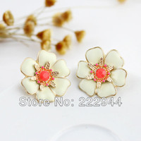 Stud Women's Stud Earrings New Arrival 2014 Items Two Color Option Eamel Flower Design Alloy Stud Earrings For Women