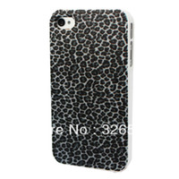 For Apple iPhone Plastic Yes Black Animal Leopard Spot Printing Picture Back Cover Hard Plastic Protective Bumper Shin Shell Case for Apple iPhone 4 4S