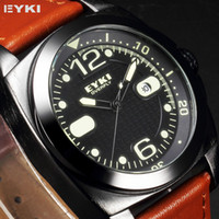 Sport Men's Water Resistant EYKI Overfly Calendar Japan Movement Orange Genuine Leather Strap Blue Pointer Clock Quartz Men's Sport Running Watch EKI106