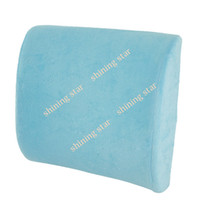 Plastic Seat Covers & Supports 9.5 cm New Sky Blue Memory Foam Lumbar Back car Support Cushion Pillow 30cm x 33cm x 9.5cm hot sale 12728
