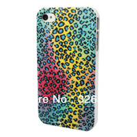 For Apple iPhone Plastic Yes Free Shipping + MOQ =1ps The Bottom Of The Rainbow Blue Dots Leopard Print Case Plastic Hard Back Skin For APPLE iPhone 4 4S