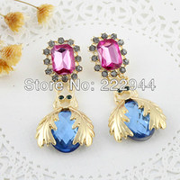 Wholesale Hot sale Fashion Jewelry Lovely Bee Design Colorful Rhinestone Drop Earrings for Women