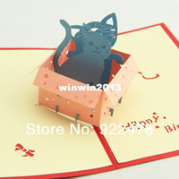 Birthday Cards Sample Retail Paper 3D Cube Lovely Cat Box Birthday Greeting Card Gift cards,Chinese traditional Paper cutting 10pcs lot Freeshipping