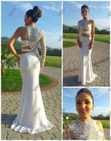 china prom dresses - Sexy Prom Dresses Asymmetrical One Sleeve Cut Out Prom Dress Crystal Beaded Evening Gowns Fitted Pageant Dresses China Prom Dresses