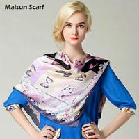 Scarves Floral Adult 100 Silk Crepe Satin Plain Large Square Scarves 12mm 90 x 90cm butterfly Hijab