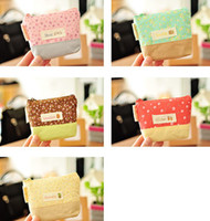 Coin Purses 5 colors Floral Free shipping! Purse Wallets Zakka wispy floral zipper Coin purses 5 Color Linen fabric phone MP3 tool storage holder case pouch bag