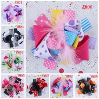 silk ribbon - Princess Cheetah Ostrich Feather Maribou Hair Bow Ribbon Hair Clip Bows Flowers Silk Rosettes