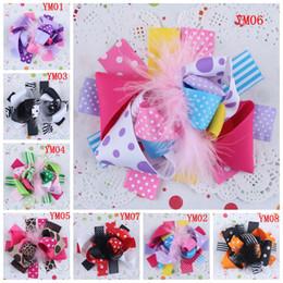 Wholesale Princess Cheetah Ostrich Feather Maribou Hair Bow Ribbon Hair Clip Bows Flowers Silk Rosettes