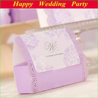 Wholesale 2014 Purple Laser cut Flower Wedding Boxes Chocolate Paper Gift Boxes Wedding Favors