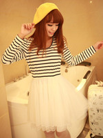 Casual Dresses Round Mini Sweet Stripe Peplum Crewneck Long Sleeves Skater Dress pencil r28 #u13-1ppI